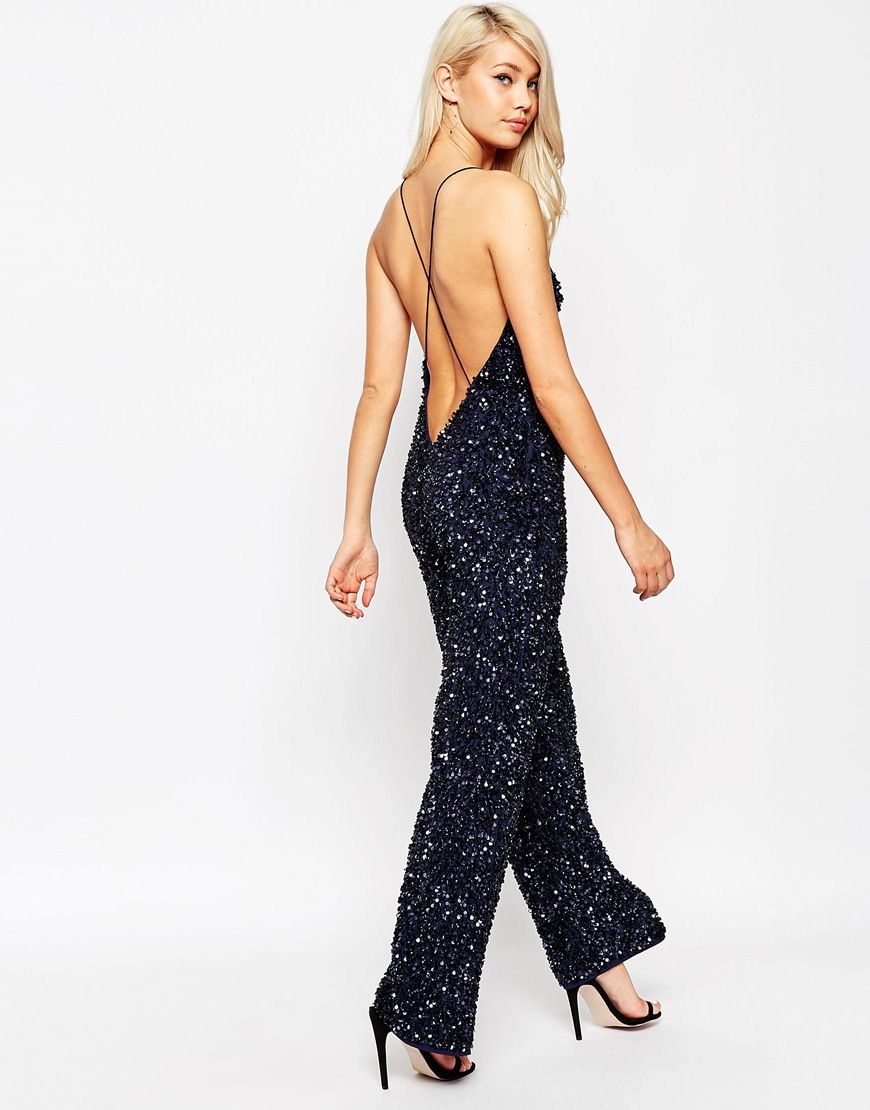 b5060ddf1a1b Image 1 of ASOS Backless Jumpsuit with All Over Sequins