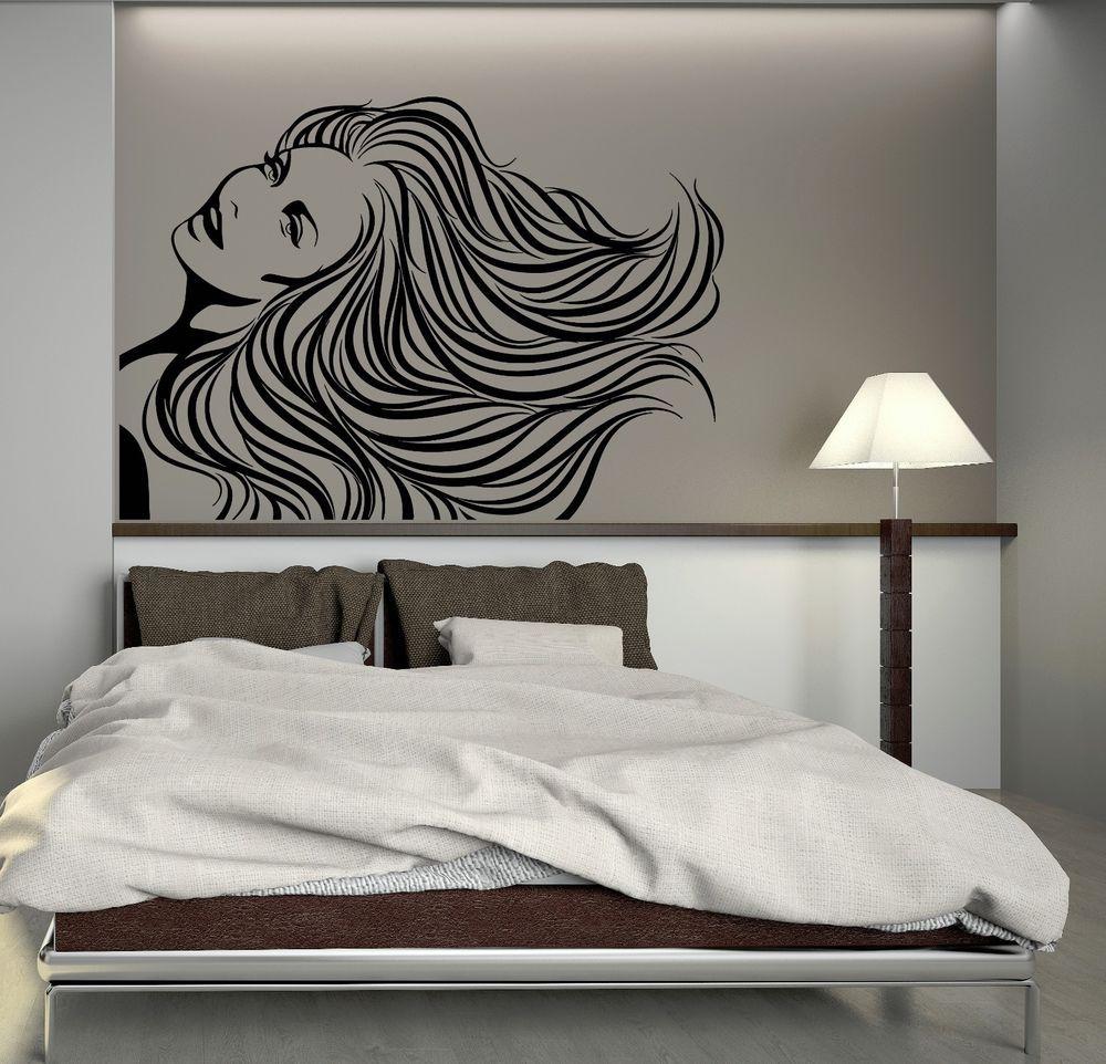 Wall decal long hair beauty salon barbershop hairstyle vinyl mural