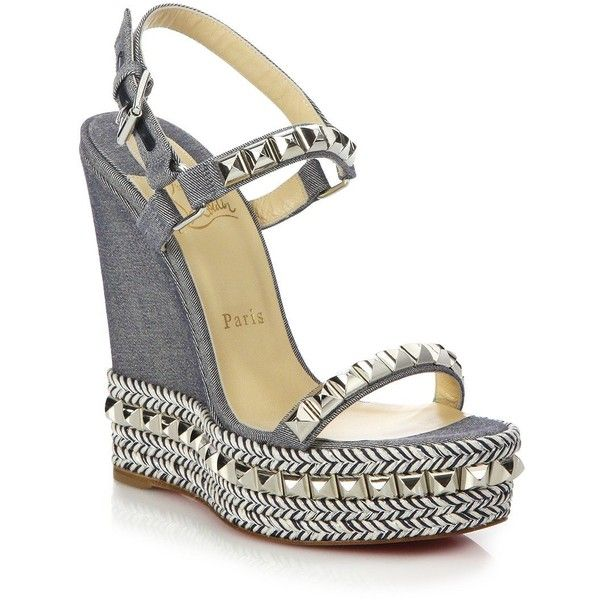 fb8b5eb6dd4 ... inexpensive christian louboutin cataclou studded braid trimmed denim  wedge 795 liked on polyvore featuring shoes sandals ...