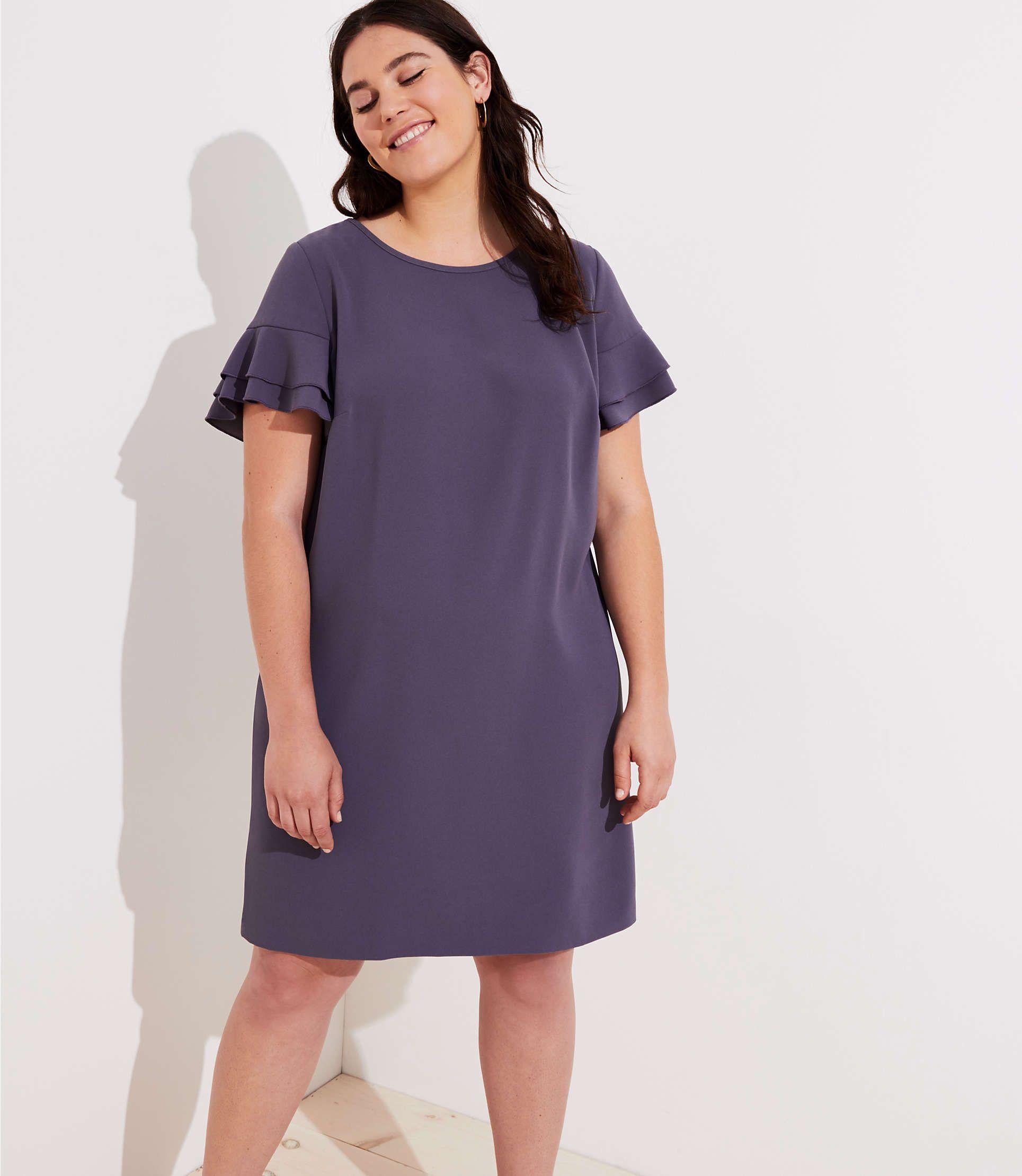 Loft Plus Tiered Flutter Sleeve Shift Dress Loft Shift Dress Dresses Fashion [ 2220 x 1929 Pixel ]