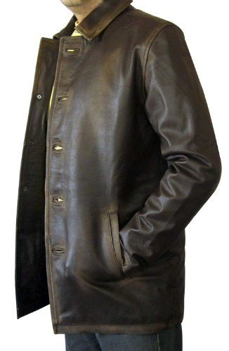 Mens Brown Distressed Leather Car Coat Http Www