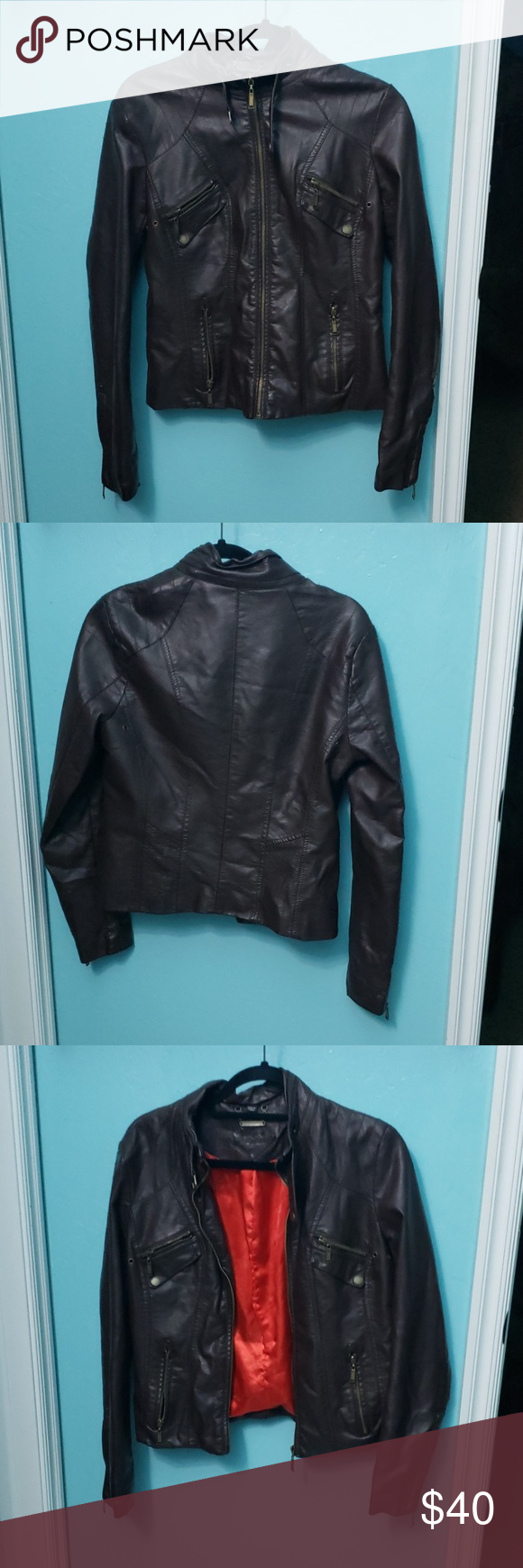 Faux Leather Jacket Despite The Photos The Hacket Is A Dark Chocolate Brown With Red Lining In The Inside Gold Zip Faux Leather Jackets Leather Jacket Jackets [ 1740 x 580 Pixel ]