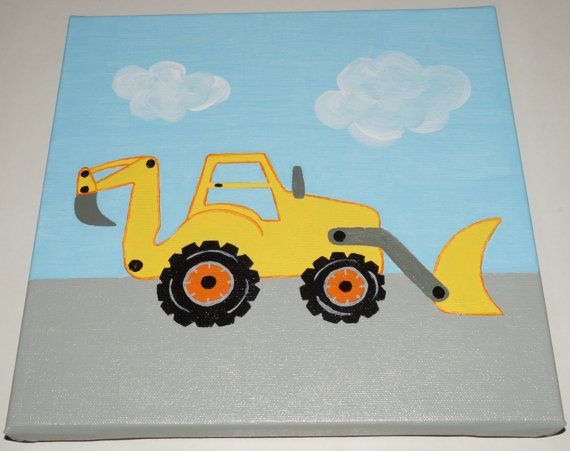 Construction Truck Canvas Painting - Backhoe | Construction ...