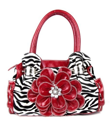 Red Zebra Print Flower Rhinestone Fashion Purse Handbags Bling