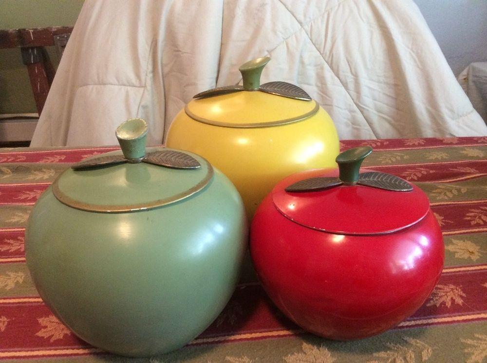 Vintage Tin Apple Cannisters Set Of 3 1965 Cannister Sets Vintage Canisters Vintage Tin