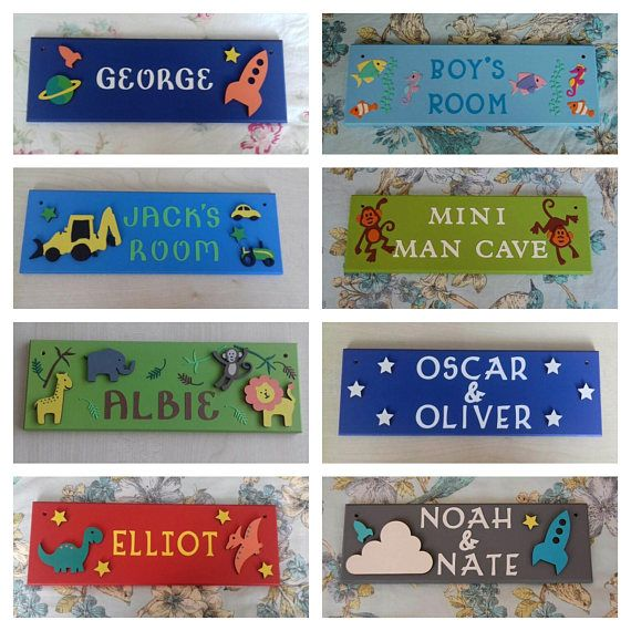 Boys Personalised Childrens Bedroom Door Name Plaque Name