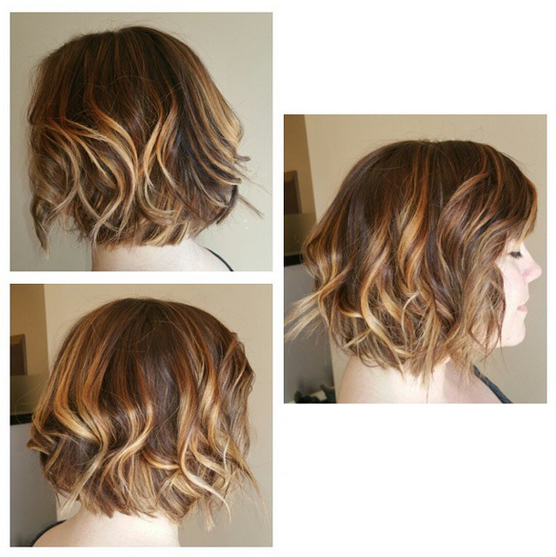 Balayage Sun Kissed Highlights Messy Lived In Wavy Bob By Blake