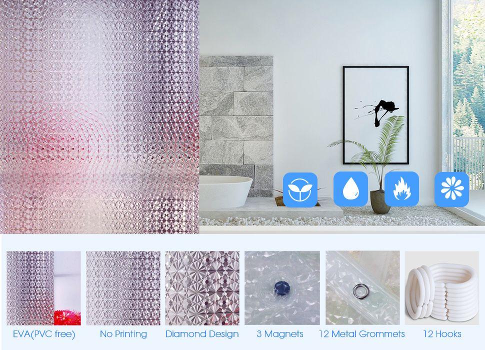 Wimaha Standard Diamond Design Shower Curtain Standard 72 Inch