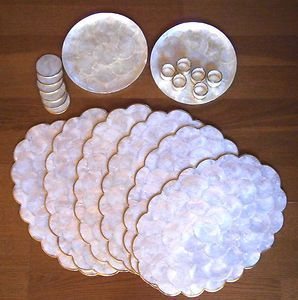 Vintage 1960s Capri Mother Of Pearl Shell Set 6 Placemats