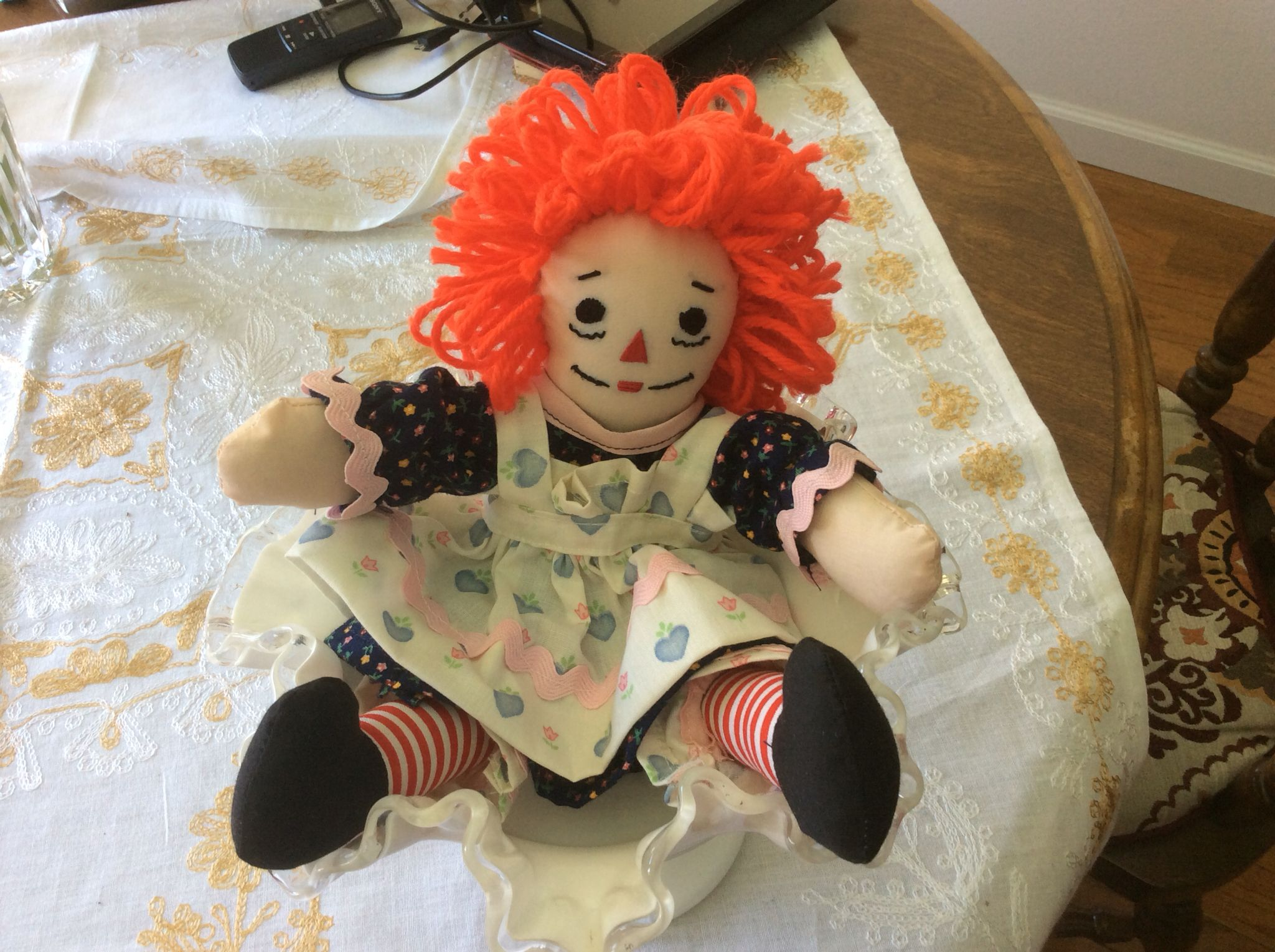 """Finally made my first Raggedy Ann! The 10"""" version from an old pattern. Sewing her feet onto her legs was the most difficult since she is so small. Still, she's cute."""