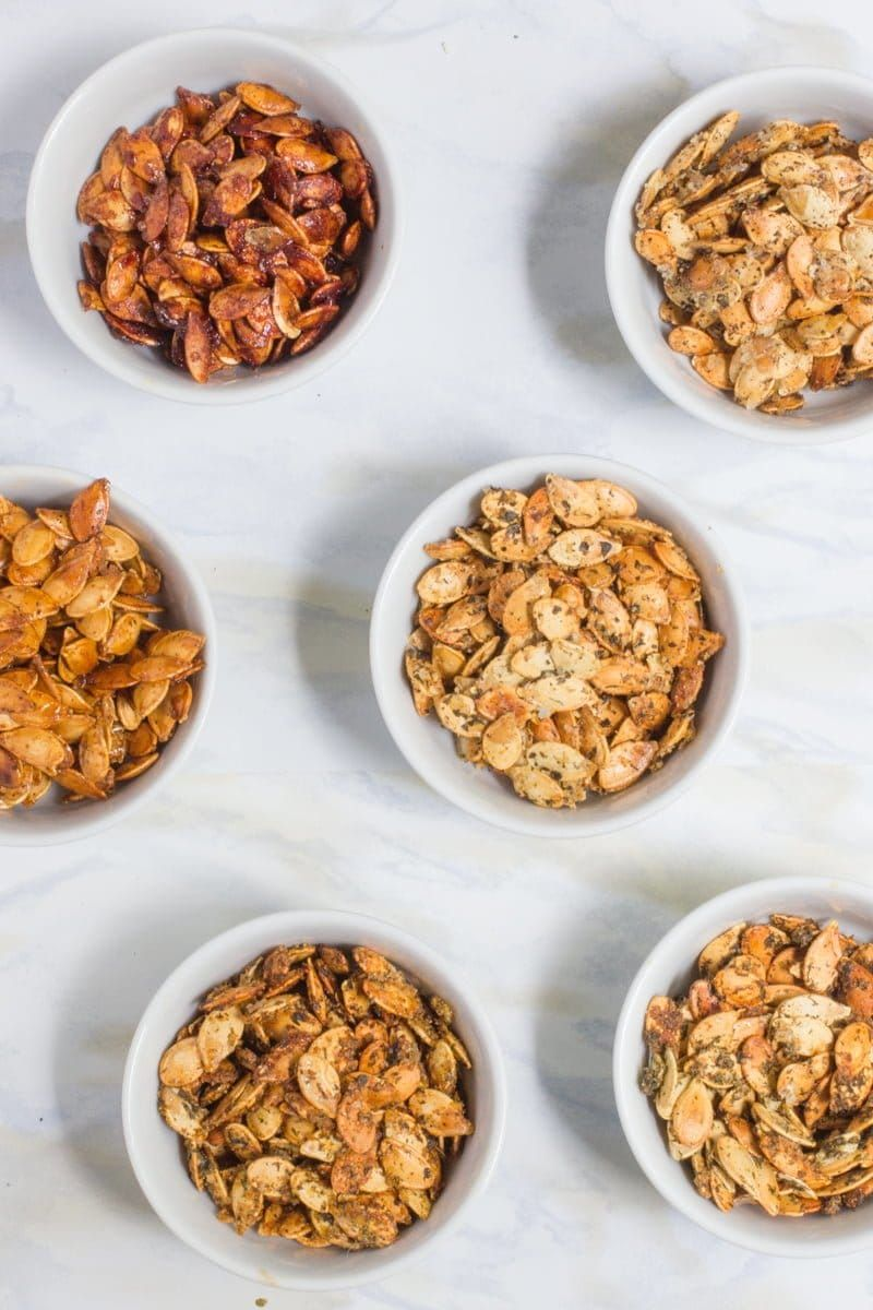 Roasted Pumpkin Seeds (6 Flavors!) #roastedpumpkinseeds
