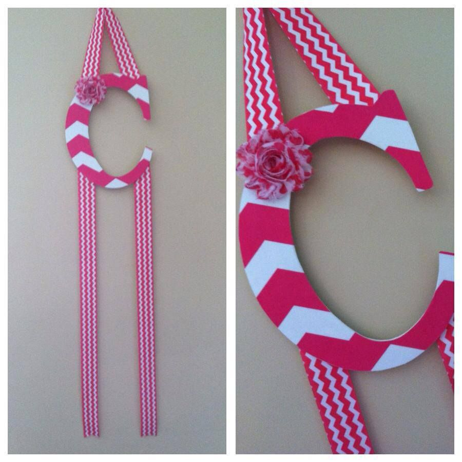 Adorable pink and white chevron hairbow holder!!  https://www.facebook.com/KKAccessoriesKK