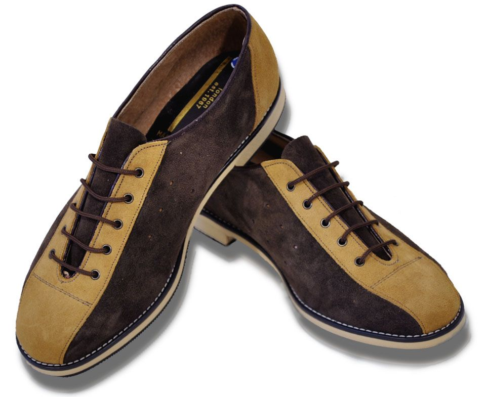 Merc London Mod Retro Suede Bowling Shoes Ladies Mens Brown Tan ...