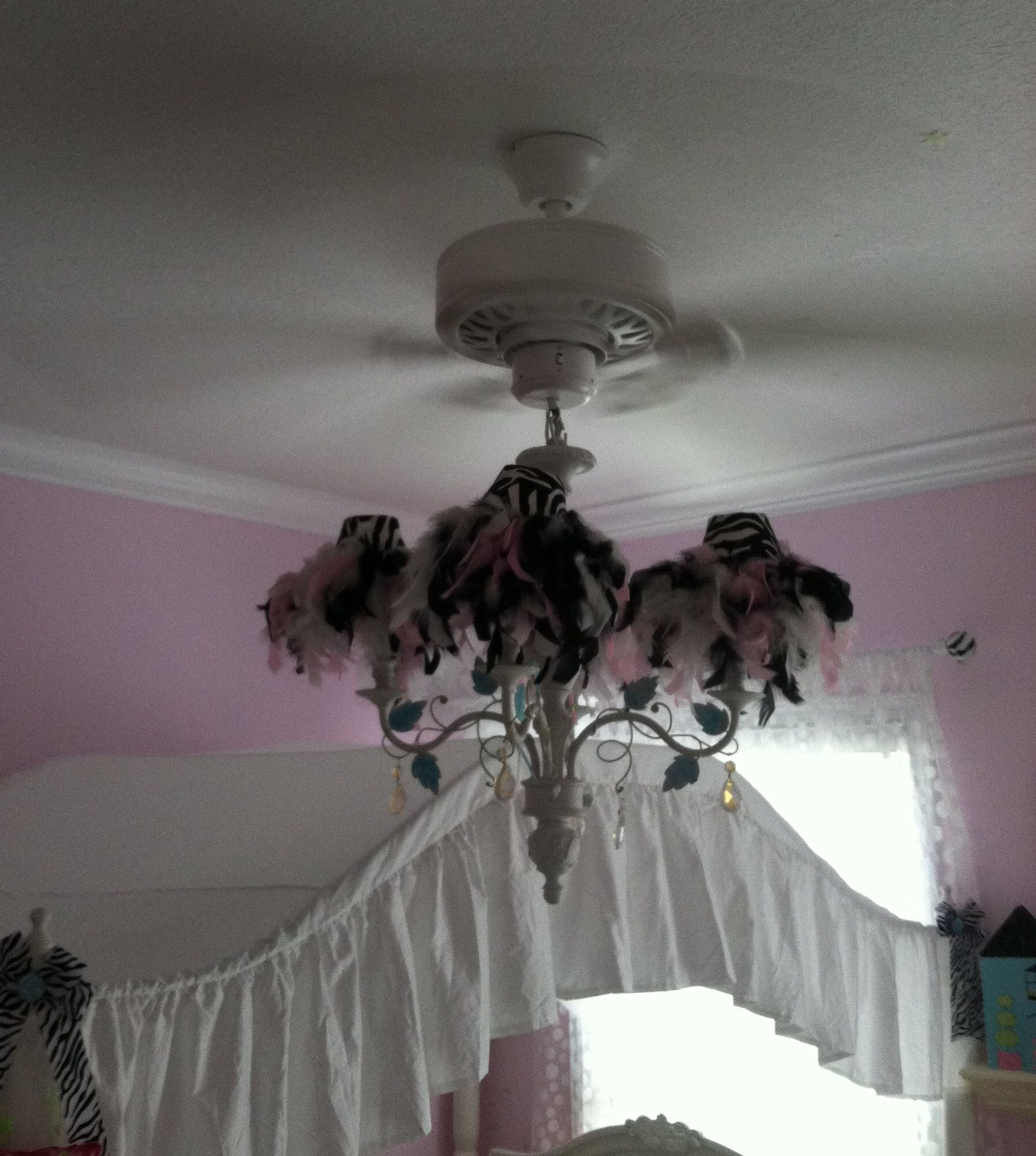 Chandelier ceiling fan diy zebra feather boa little girls room ...