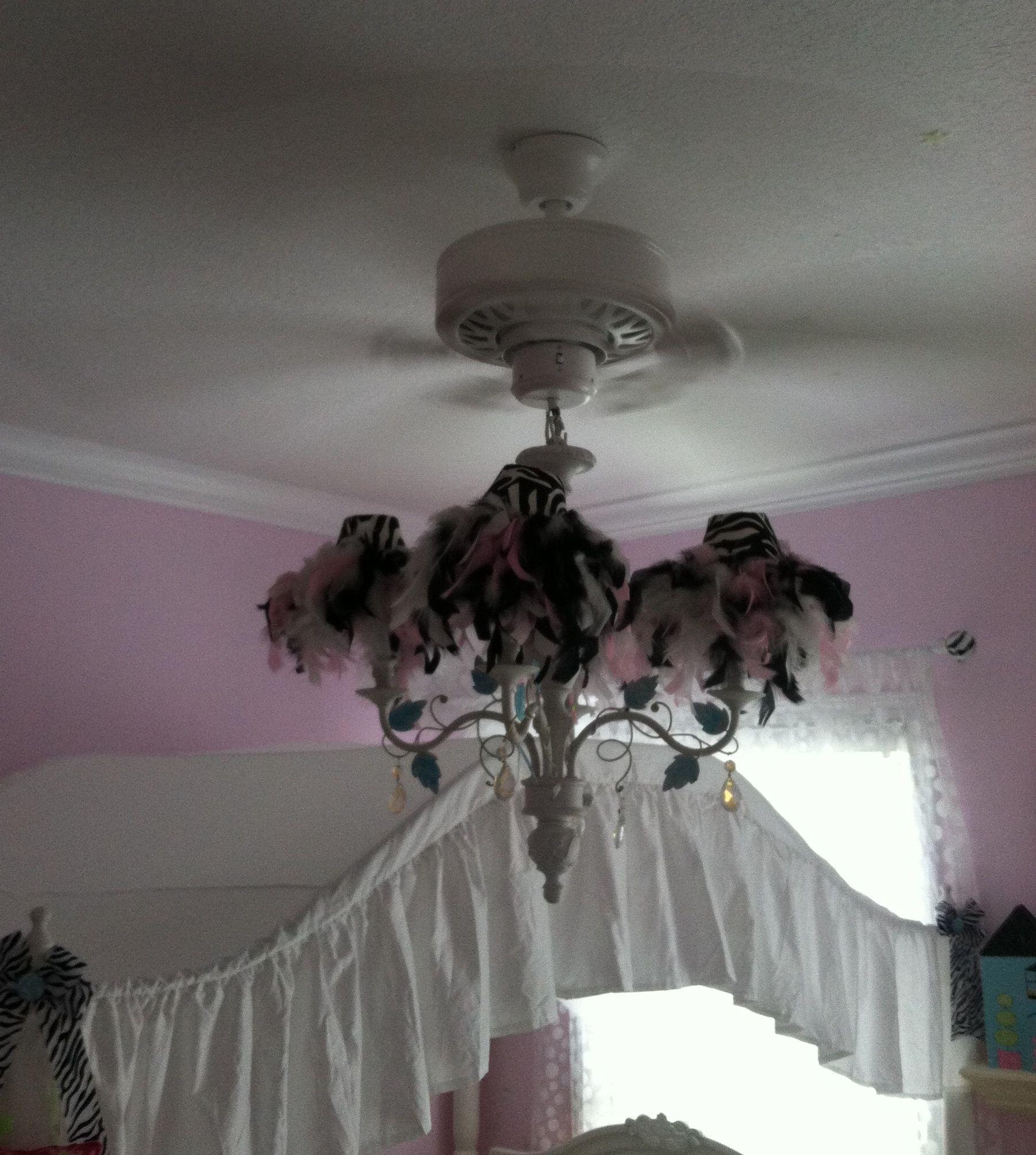 Chandelier ceiling fan diy zebra feather boa little girls room chandelier ceiling fan diy zebra feather boa little girls room aloadofball Gallery