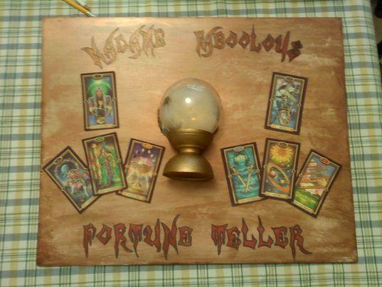 Fortune teller idea on Halloween Forum. The crystal ball lights up.