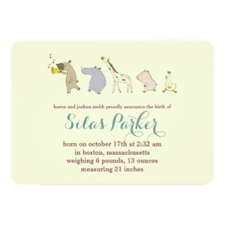 Baby Animal Parade Birth Announcement / Invitation
