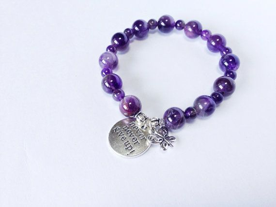 Lupus Awareness Bracelet Fibromyalgia Purple Bead Stackable Stretch Genuine Amethyst Silver Charm On Etsy 25 00
