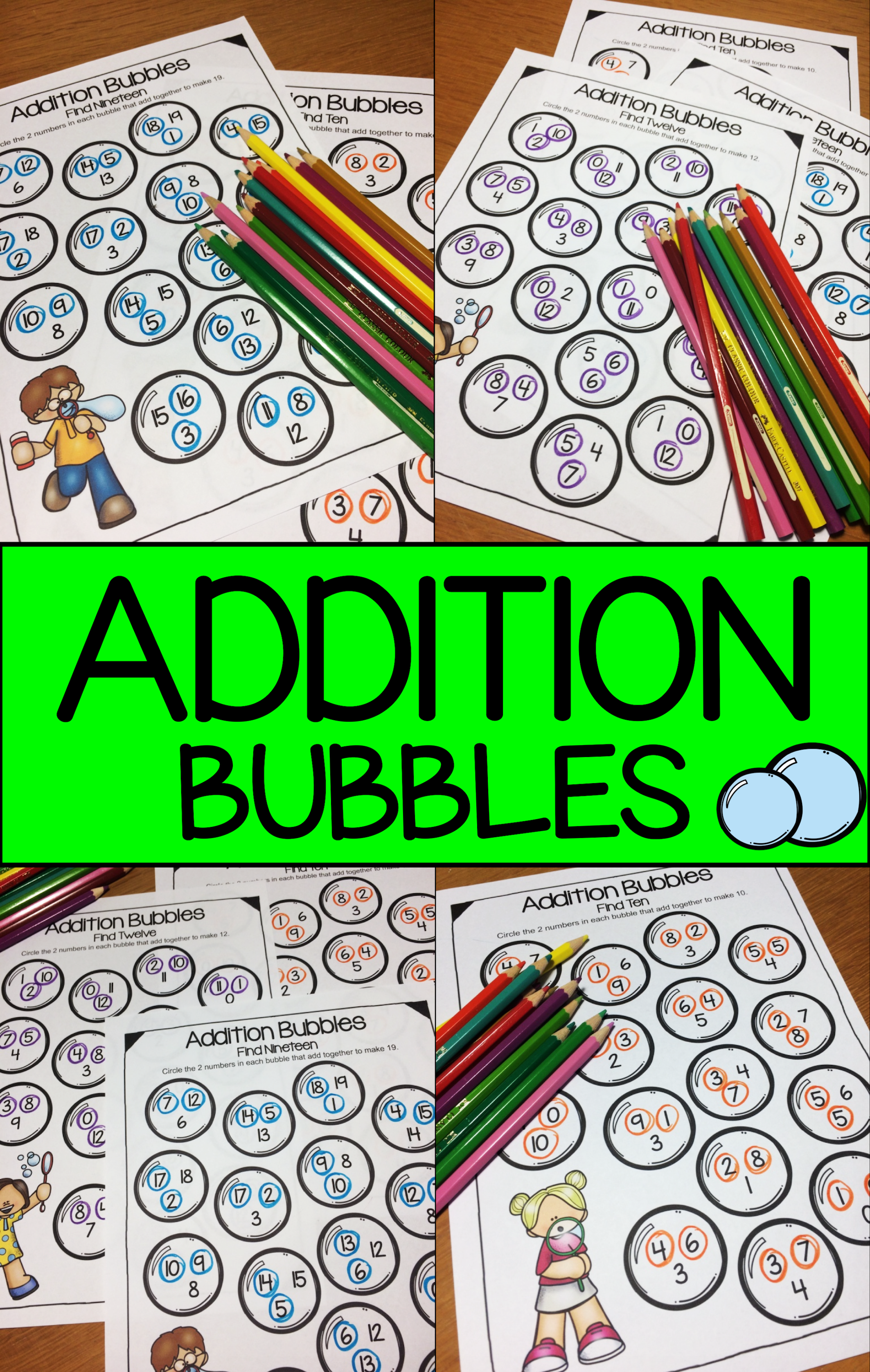 Addition Bubbles Addition To 20 Worksheets For Addition