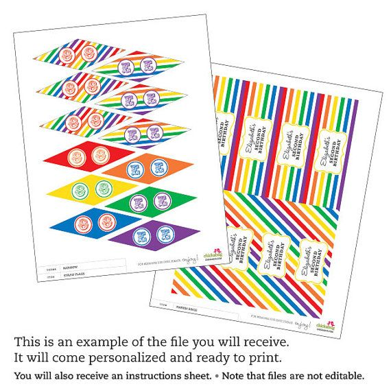 Rainbow Party Personalized DIY printable straw flags by Chickabug