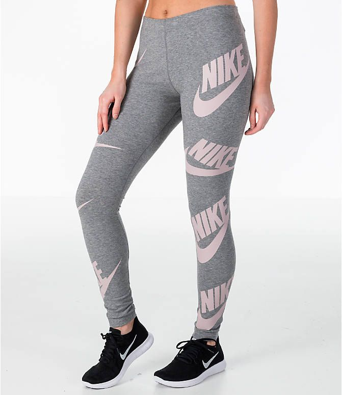 6c53fe1b4c467 Front Three Quarter view of Women's Nike Sportswear Futura Leg A See  Leggings in Carbon Heather