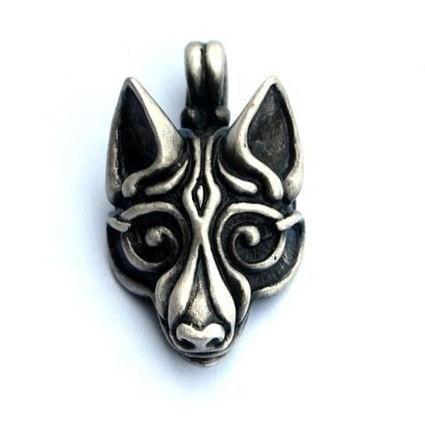 VIKING WOLF PENDANT €10.00 This large wolf head pendant is inspired by the mythical Viking wolf Fenrir. According to Norse mythology this ...