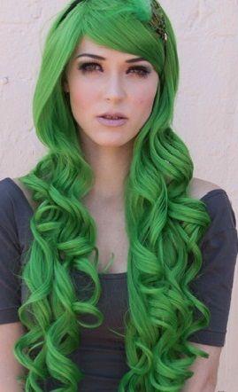 gorgeous long green hair