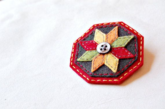 Embroidered Patchwork Brooch by SewSweetStitches on Etsy