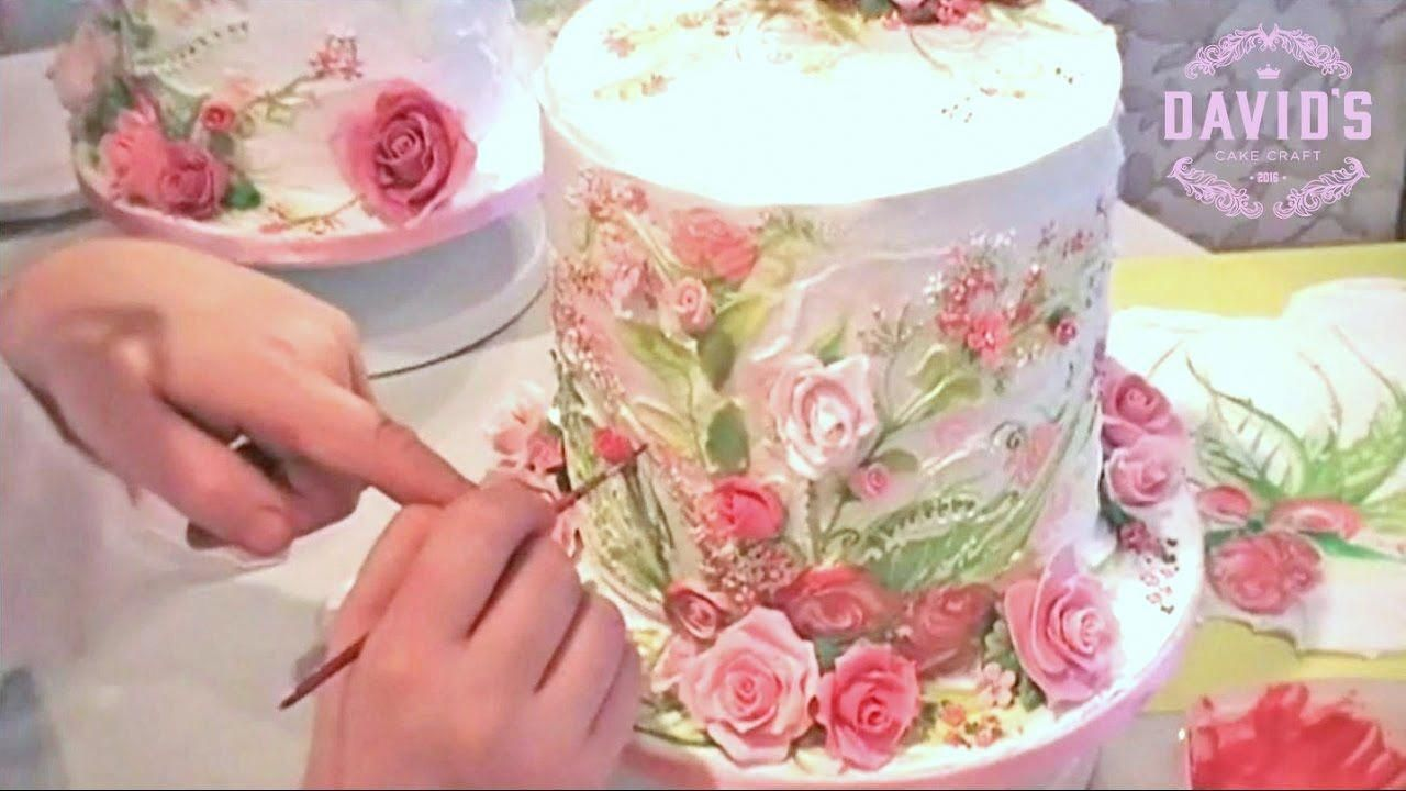 CAKE DECORATING - HAND PAINTING WITH ICING - CAKE PAINTING TECHNIQUES W... #CakeDesign #cakedecoratingvideos