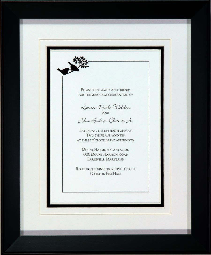This is a nice, simply done wedding invitation. It uses black and ...
