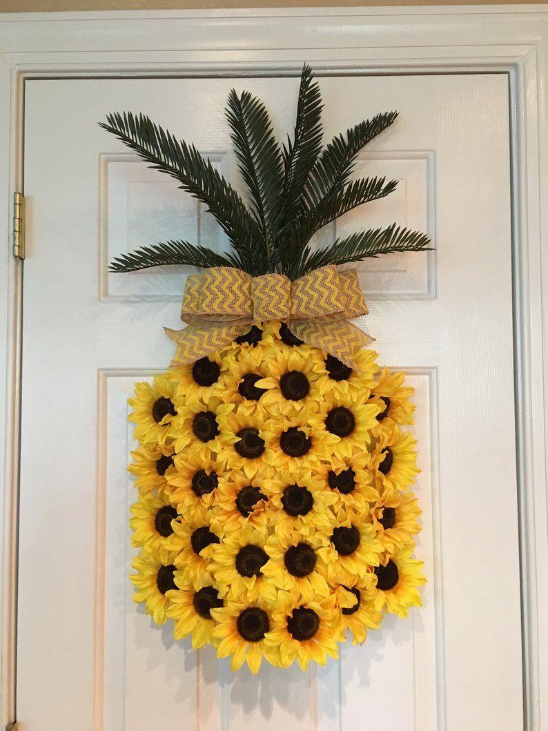Photo of Pineapple sunflower wreath, pineapple wreath, spring wreath, summer wreath, fruit wreath, aloha wreath, welcome wreath, Hawaiian wreath