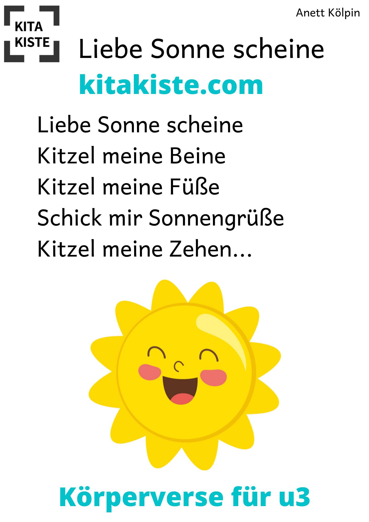 Liebe Sonne Scheine Korper U3 Kinder Reime Fantasiereisen Fur Kinder Liebe Sonne