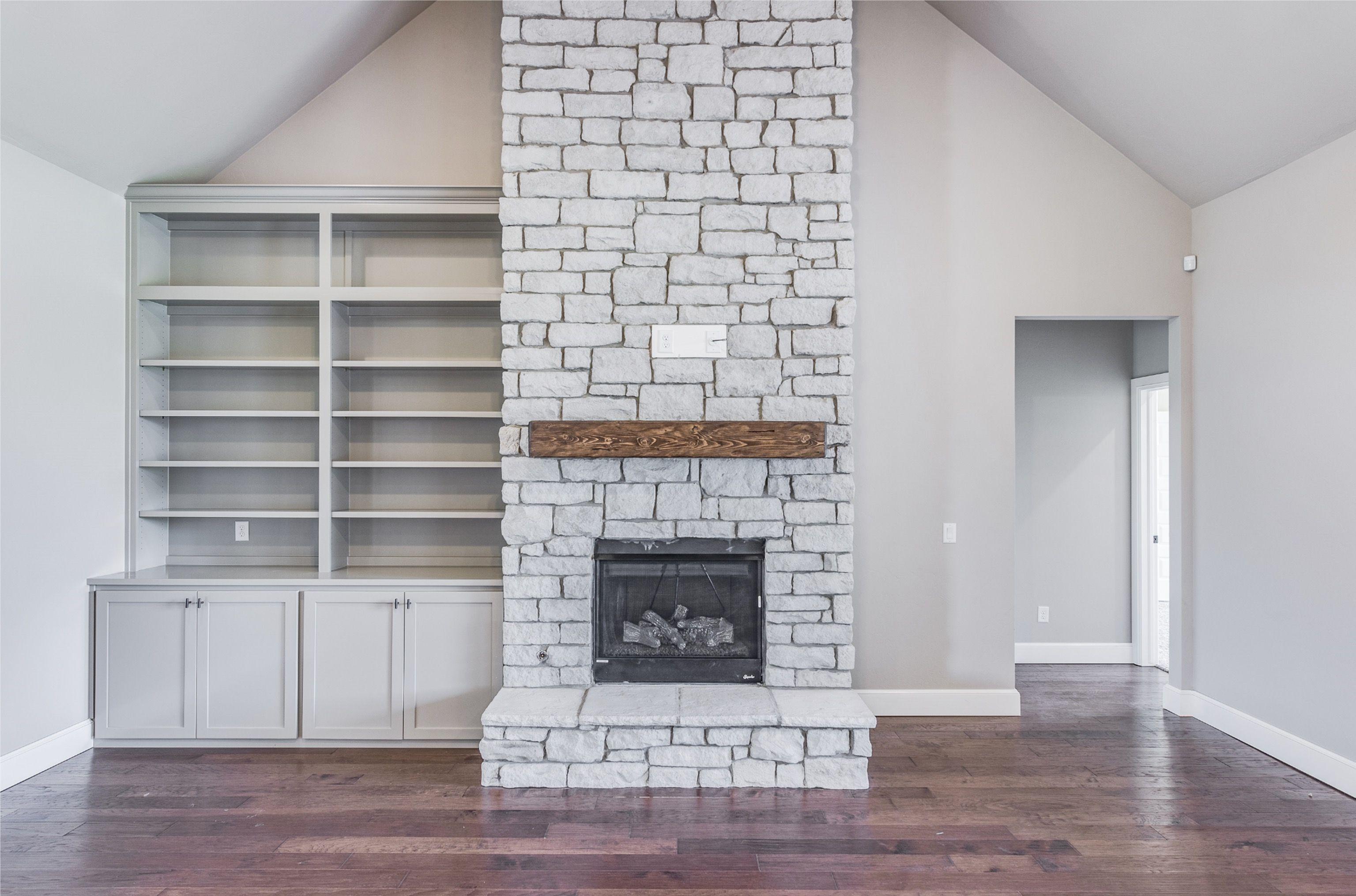 We Love This Floor To Ceiling Rock Fireplace Home Builders Custom Home Builders Custom Homes