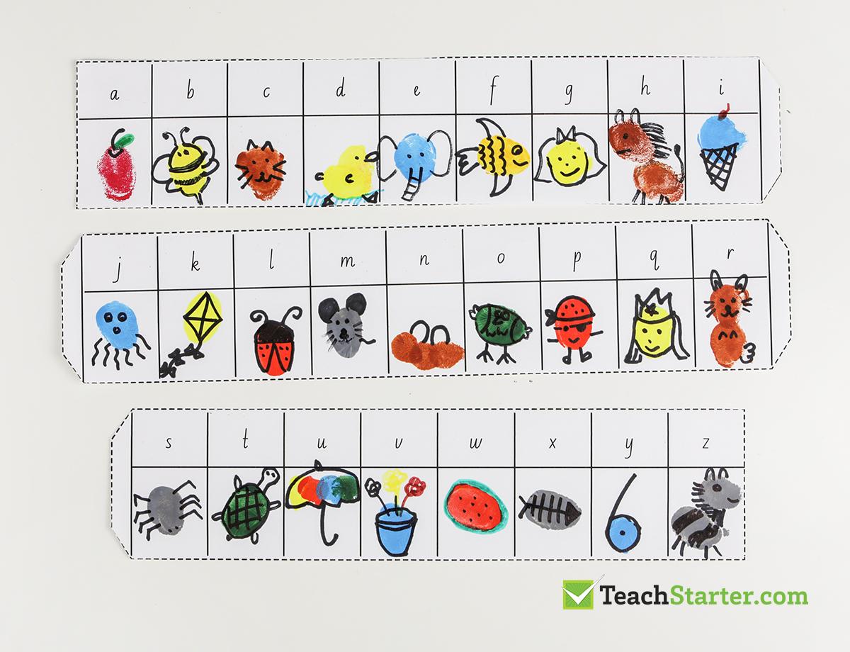 Alphabet Detective Fingerprint Art Template Teaching