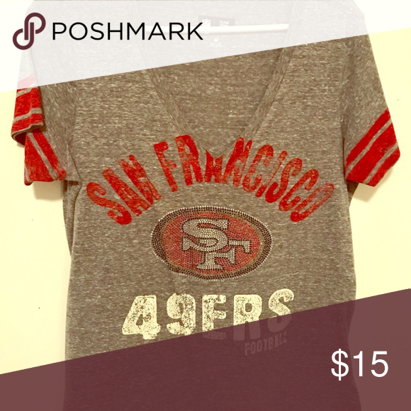 SF 49ers bling tshirt Embellished tshirt, detailed short sleeve, vneck Tops Tees - Short Sleeve