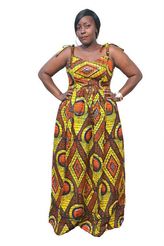 9bcd01aa876 Estido - Plus Size African Print Maxi Dress