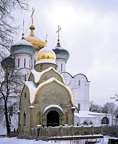Novodevichy Convent or Bogoroditse-Smolensky Monastery, cathedral domes, Moscow, Russia