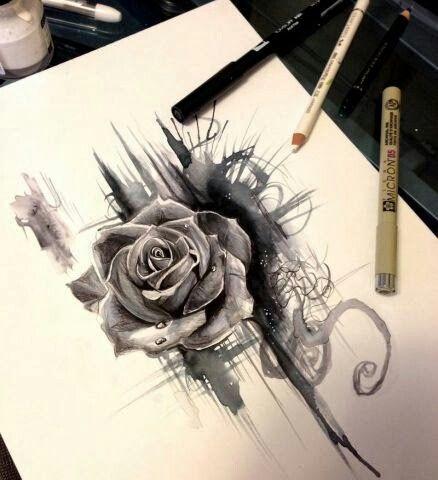 Pen and ink rose. Beatiful Design!