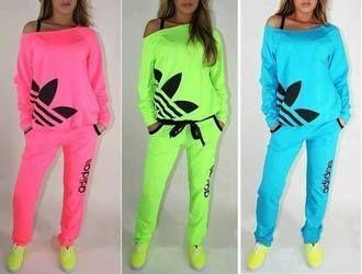 21a795576ad clothes tracksuit jumpsuit shoes pants adidas sweats pajamas shirt adidas  jacket adidas neon sweater dress blouse fluo brand pink adidas hot pink  neon light ...