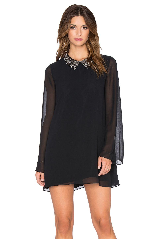 BCBGeneration Embellished Collar Mini Dress in Black