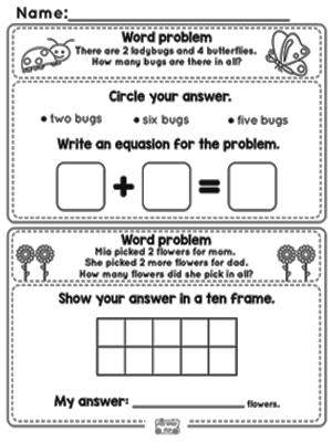 Kindergarten Math Problem Solving Worksheets