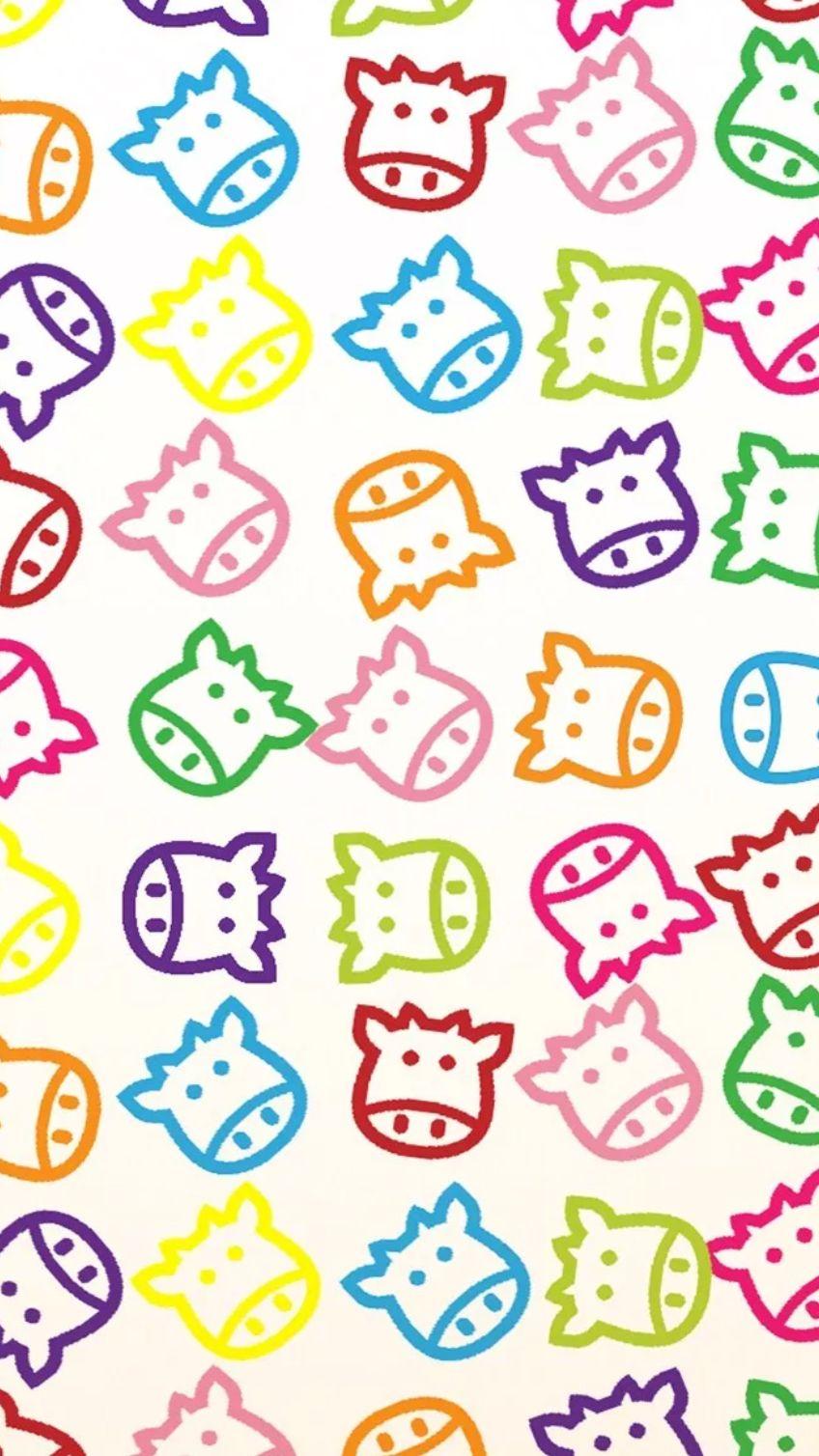 Colourful cow face pattern digital cuties pinterest