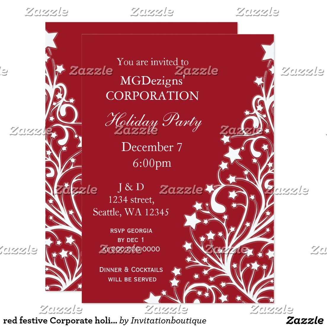 red festive Corporate holiday party Invites