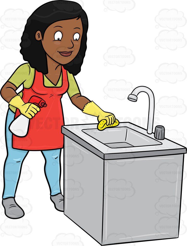 a black woman trying to polish a kitchen sink #antiseptic #broom