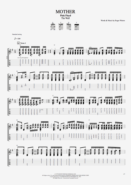 Mother Pink Floyd Tablature Learn Guitar Guitar Chords For Songs Guitar Tabs Songs