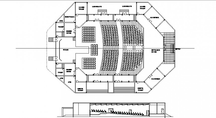 Plan And Sectional Detail Of Multiplex Theater Building Block Layout File In Dwg Format Theater Drawing En 2020