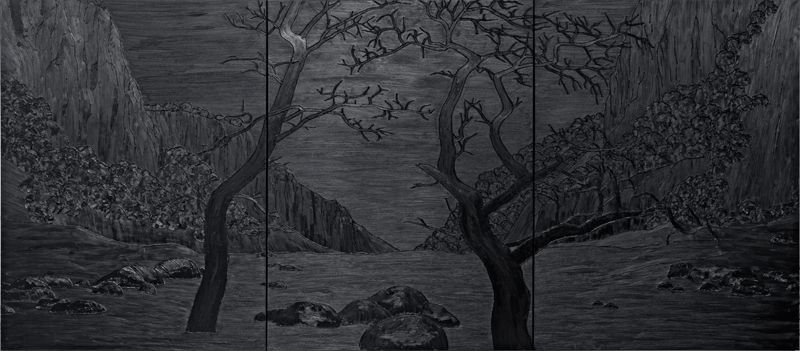 Sven Drühl, C.D.F.C.D.F.C.D.F.C.D.F. (Undead), 2008, 240 x 540 cm, Öl und Silikon auf Leinwand