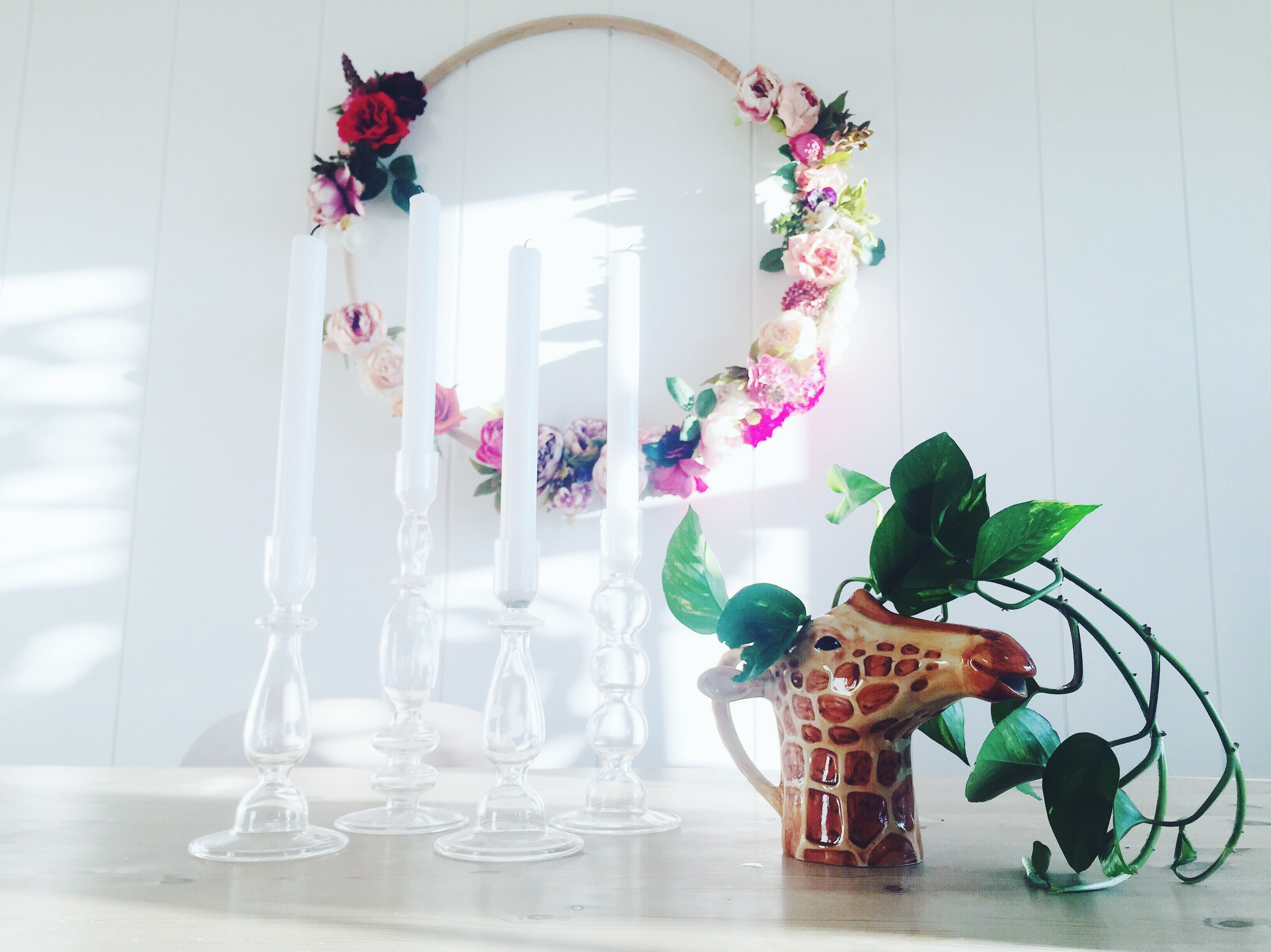 DIY floral wreath.
