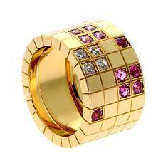 Cartier Pink Sapphire Diamond Yellow Gold Ring
