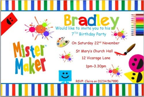 10 personalised birthday party mr maker invitations invites with 10 personalised birthday party mr maker invitations invites with envelopes stopboris Choice Image